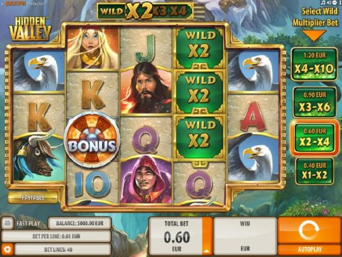 Main game board featuring five reels and 40 paylines with a $9,000 max payout by Hotslot