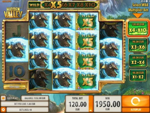A 1,950.00 big win triggered by multiple winning paylines and x5 wild multipliers by Hotslot