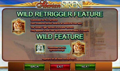 Hotslot - Wild Retrigger Feature - The Gold Tiger symbol is a scatter symbol. Only appears in the free spin bonus and on reels 2, 3 and 4