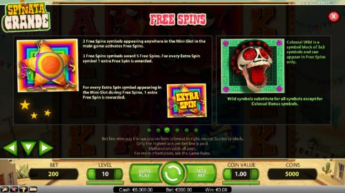 Hotslot - Free Spins - Three Free Spins symbols appearing anywhere in the mini-slot in the main game activates the free spins feature