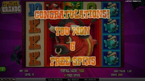 Six free spins awarded by Hotslot
