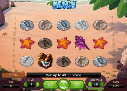 main game board featuring five reels and twenty paylines. win up to 40000 coins by Hotslot