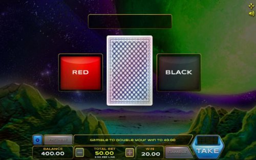 Hotslot - Gamble feature game board is available after every winning spin. For a chance to increase your winnings, select the correct color of the next card or take win.
