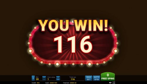 Total free games payout 116 coins by Hotslot