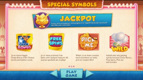 Jackpot - collect all five gold sundaes in free spins or in chase bonus golden level and win 500x your total bet - Hotslot