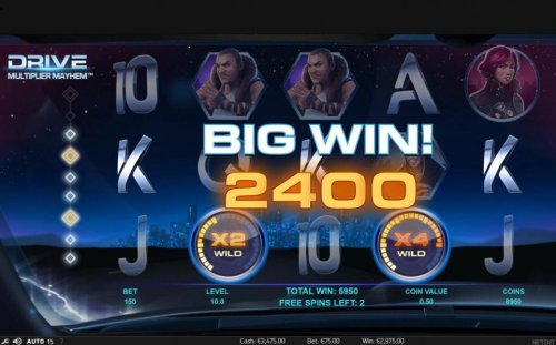 A five of a kind triggers a 2400 coin big win during the free spins feature. by Hotslot