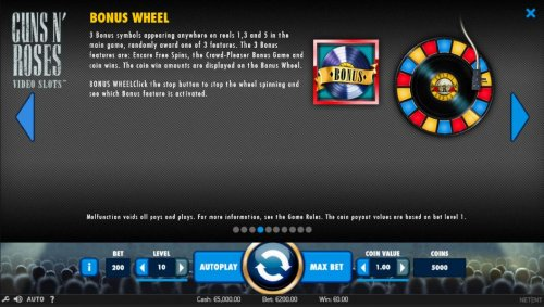 3 Bonus symbols appearing anywhere on reels 1, 3 and 5 in the main game, randomly award one of 3 features. The 3 Bonus features are: Encore Free Spins, The Crowd-Pleaser Bonus Game and coin wins. by Hotslot