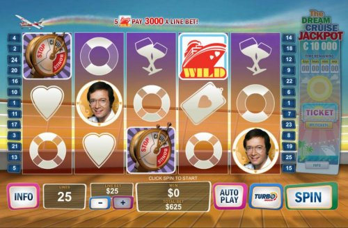 Main game board featuring five reels and 25 paylines with a jackpot max payout by Hotslot