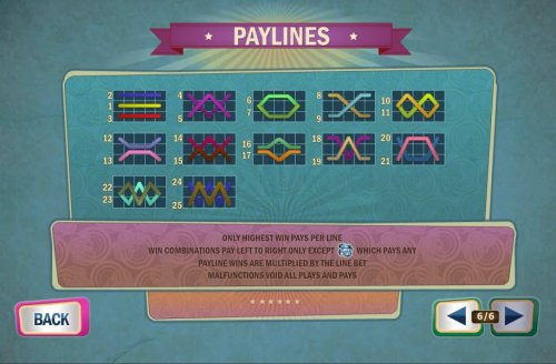 Payline Diagrams 1-25. Only highest win pays per line. Win combinations pay left to right only except rose scatter symbol which pay any. Payline wins are multiplied by the line bet. - Hotslot