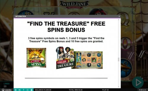 Fine the Treasure Free Spins Bonus - 3 free spins symbols on reels 1, 3 and 5 trigger free spins feature. - Hotslot