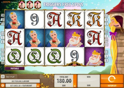 Hotslot - Main game board featuring five reels and 20 paylines with a $6,000 max payout