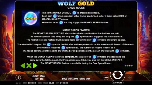 Hotslot - The moon is the games money symbol and is present on all reels. When 6 or moree money symbols hit, they trigger the Money respin feature. The progressive jackpots can be won during the Money respin feature.