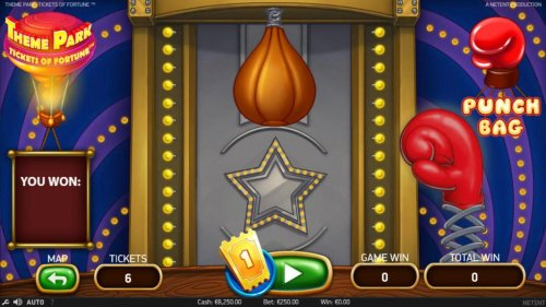 The Punch Bag game cost 1 ticket, hit the bag to win a prize. - Hotslot