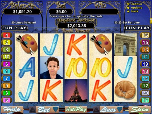 An artists themed main game board featuring five reels and 20 paylines with a $250,000 max payout - Hotslot