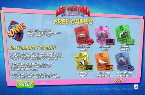 Hotslot - Free Games are triggered by the Rhino Bonus symbol landing on reels 1, 3 and 5 and awards 7 free games with animal modifers.