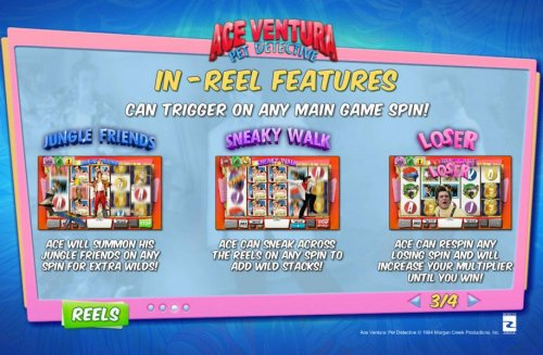In-Reel Features can trigger on any main game spin! Jungle Friends, Sneaky Walk and Loser Loser. by Hotslot