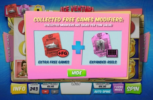 Collected free game modifiers, collected modifiers are saved per coin value. by Hotslot