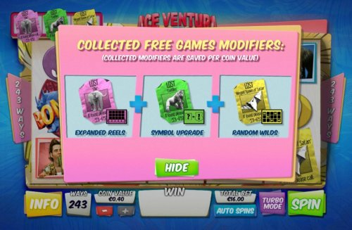 Hotslot - once you find the key you will have three free game modifiers available during the free games feature.