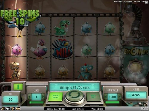 Hotslot - here is an example of a wild egg triggering ten free spins