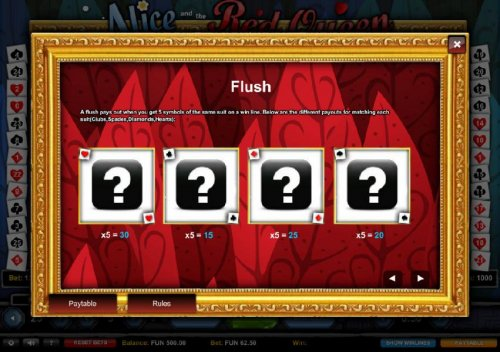 Flush Feature - A Flush pays out when you get 5 symbols of the same suit on a line. - Hotslot