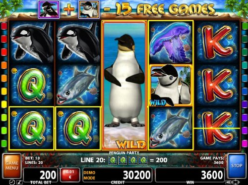 A 3600 coin big win triggered by stacked penguin wild on reel 4 by Hotslot