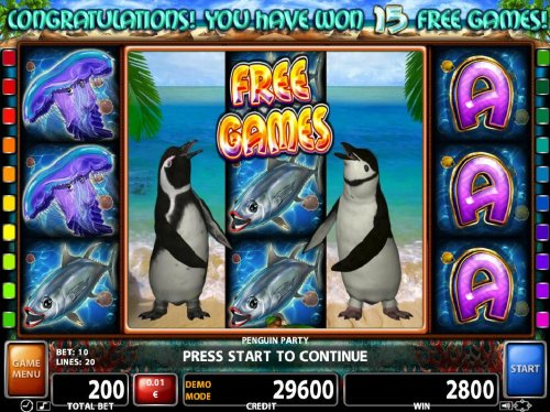 Landing a penguin wild on reels 2 and 4 triggers the Free Games feature. - Hotslot