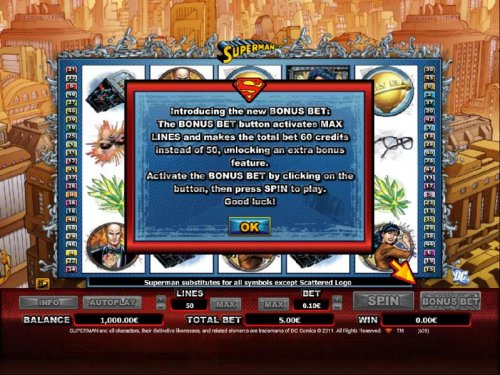 Introducing the new BONUS BET: The BONUS BET button activates MAX LINES and makes the total bet 60 credits instead of 50, unlocking an extra bonus feature. by Hotslot