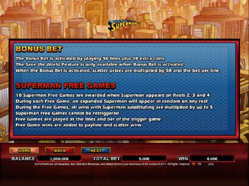 bonus bet and superman free games rules by Hotslot
