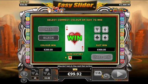 Hotslot - Gamble feature is available after each winning spin. Select color or suit to play.