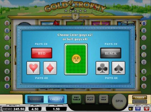 gamble feature game board - choose a color or sit for a chance to increase your winnings by Hotslot