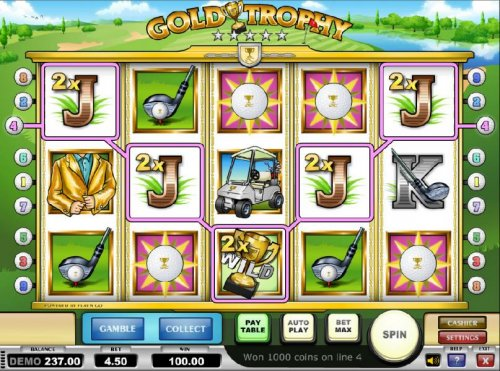 five of kind with a 2x multiplier triggers a 100 coin jackpot by Hotslot