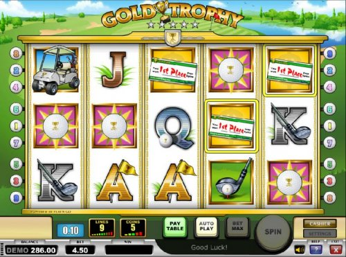 three 1st place symbols triggers free spins feature by Hotslot
