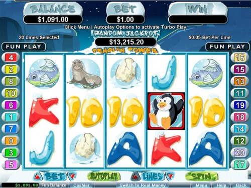 A Penguin themed main game board featuring five reels and 20 paylines with a $250,000 max payout by Hotslot