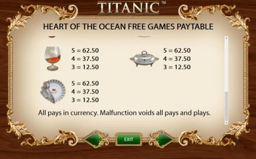 Heart of the Ocean Free Games Feature Paytable - Low Value Symbols by Hotslot