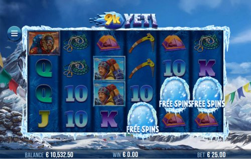 Scatter symbols triggers the free spins feature by Hotslot