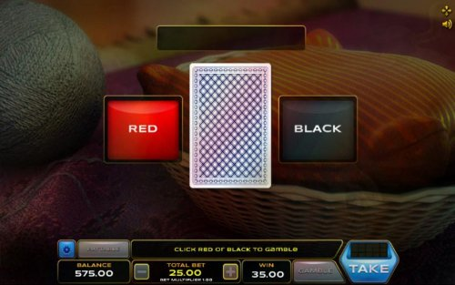 Gamble feature game board is available after every winning spin. For a chance to increase your winnings, select the correct color of the next card or take win. by Hotslot
