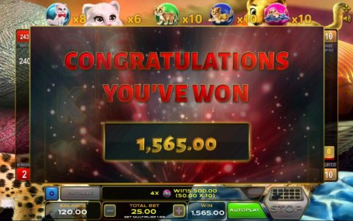 The free spins feature pays out a total of 1,565.00 - Hotslot