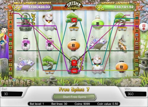 multiple winning paylines triggers a 360 con jackpot during the free spins feature - Hotslot