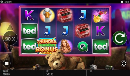 A teddy bear movie themed main game board featuring five reels and 20 paylines with a $250,000 max payout. - Hotslot