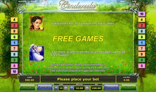 Hotslot - Cinderela is the games wild symbols and substitutes for all symbols except scatters. The Fairy God-Mother symbol is the games scatter and 3 or more scatters on the screen triggers up to 30 free spins.