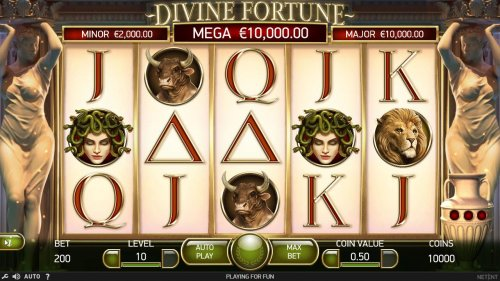 A Greek mythological themed main game board featuring five reels and 20 paylines with a $60,000 max payout - Hotslot