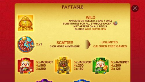 Hotslot - High value slot game symbols paytable featuring Asian wealth inspired icons.