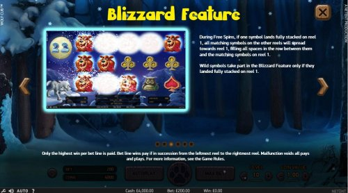 Hotslot - Blizzard Feature - During Free Spins, if one symbol lands fully stacked on reel 1, all matching symbols on the other reels will spread towards reel 1, filling spaces in the row between them and matching symbols on reel 1. Wild symbol take part i