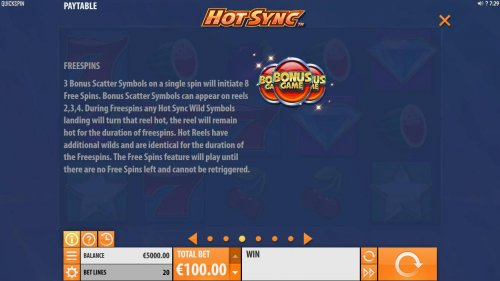 3 bonus scatter symbols on a single spin will initiate 8 free spins. by Hotslot