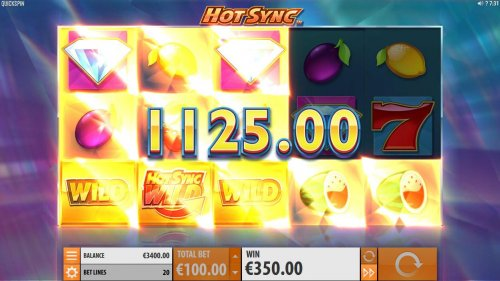 Hotslot - Respin feature triggers an addtional 1125.00 big win. Landing an addtional Hot Sync Wild symbol triggers an additonal respin.