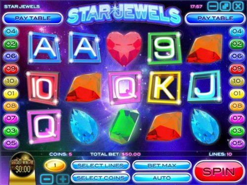 Hotslot - Main game board featuring five reels and 10 paylines with a $50,000 max payout. The game features a gemstone theme.