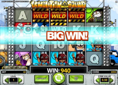 demolition wild triggers a 940 big win payout by Hotslot
