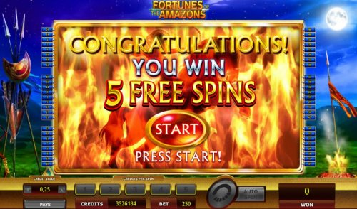 5 free spins awarded by Hotslot