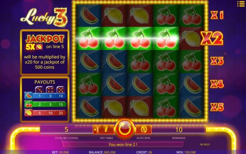 Hotslot - A winning Four of a Kind on line 2 is multiplied by x2 for a total payout of 100.00.