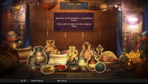 Hotslot - Welcome to the Aladdins Lamp Bonus Game. Pick a pot to trade it for the magical lamp.